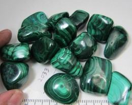 0.403 GRAMS  16PIECES   CONGO  MALACHITE TUMBLED  MS 2033