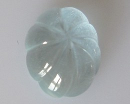 1.98cts Natural Aquamarine Oval Fluted Cabochon