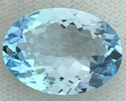 7.95 ct Oval Sea Blue Topaz - VVS - B24 F66