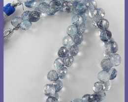 STUNNING 6-7MM BLUE MYSTIC QUARTZ ONION BRIOLETTE STRAND