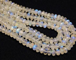 "Rainbow Moonstone faceted beads AA+ quality 6mm 10"" line"