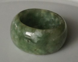 43.53ct Natural Jade Carved Ring - Mottled Green