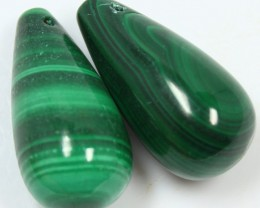 130.90 PAIR OF MALACHITE BEADS DRILLED