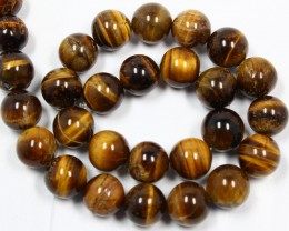 545 CTS -  1 STRAND TIGER EYE 14MM ROUND BEAD 15INCH LENGHT