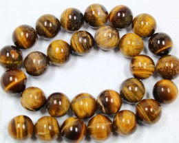 540 CTS -  1 STRAND TIGER EYE 14MM ROUND BEAD 15INCH LENGHT