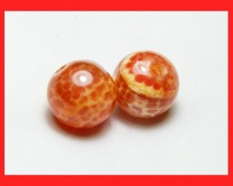 38cts 14mm Natural Brazil Fire Agate Beads Z595
