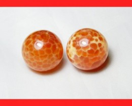 39cts 14mm Natural Brazil Fire Agate Beads Z596