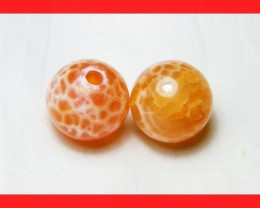 36cts 14mm Natural Brazil Fire Agate Beads Z601