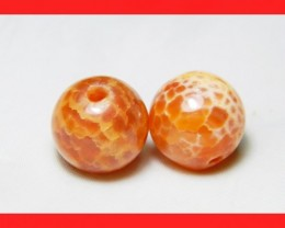 39cts 14mm Natural Brazil Fire Agate Beads Z602