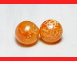 39cts 14mm Natural Brazil Fire Agate Beads Z605