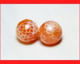 39cts 14mm Natural Brazil Fire Agate Beads Z606