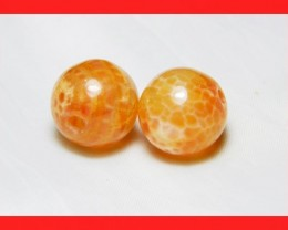 38cts 14mm Natural Brazil Fire Agate Beads Z607