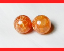 39cts 14mm Natural Brazil Fire Agate Beads Z620