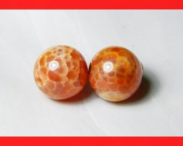 40cts 14mm Natural Brazil Fire Agate Beads Z623