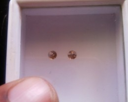 NATURAL BROWN DIAMOND-2MM SIZE-2PCSPAIR-NORESERVE