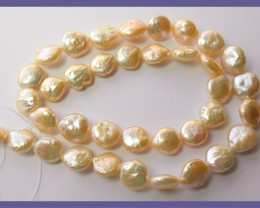 """PRETTY PEACH COLORED FRESHWATER COIN PEARLS-LOVELY LUSTRE"""