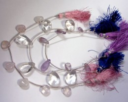 142 CTS 3 X STRANDS  CRYSTAL,ROSE QUARTZ,AMETHYST  GG 955
