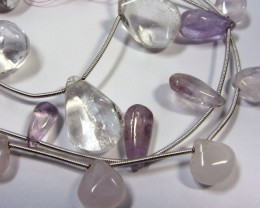 170 CTS 3 STRANDS CRYSTAL,ROSE QUARTZ,AMETHYST  GG957