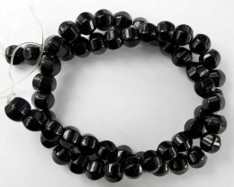 """AAA BEAUTIFUL BLACK ONYX 8.00MM LANTERN BEAD STRAND!!"""