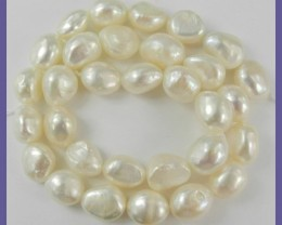 GREAT VALUE A+++ CREAMY WHITE 9.5X10-11MM BAROQUE PEARLS!!""