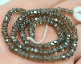 32.50 CTS 1 STRAND SMOKEY QUARTZ FACET 3 MM STRAND 13.5INCH