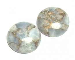 Pair round 19mm blue mojave calcite cabochon 19mm by 5mm