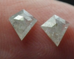 0.63ct 5.7mm White kite diamond pair rose cut