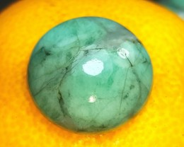22mm emerald cabochon round 22 by 10mm 41ct untreated