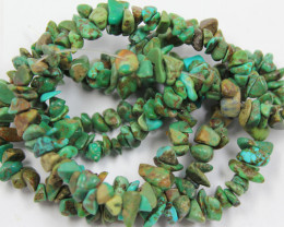 245 CTS 2 STRANDS TURQUOISE CHIPS 6 -7MM , 15 INCHS LENGHT