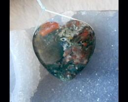 Ocean Jasper Heart-shaped pendant beads,40x11mm,26.62g