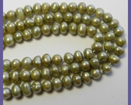 6.00X8.00MM BEAUTIFUL CHAMPAGNE FRESHWATER POTATO PEARLS