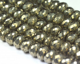 "10mm 8"" line PYRITE faceted round beads PYR002"