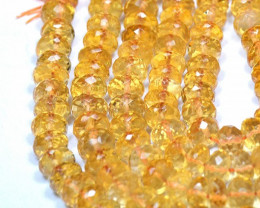 "8"" line 6mm MADEIRA CITRINE faceted roundelle beads CIT004"