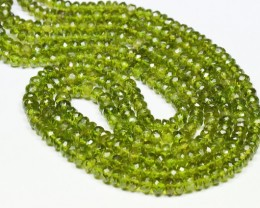 "VESUVIANITE  IDOCRASE green 4mm to 5mm faceted beads 15"" line IDCR"