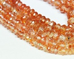 "3mm - 5mm 7.5"" ZIRCON faceted orange beads ZIR001"