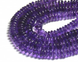 "NEW IN 7-8mm 16"" AAA Amethyst smooth roundelle beads AM006"