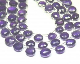 9mm - 11mm 20 Amethyst briolettes heart shape faceted AMB001