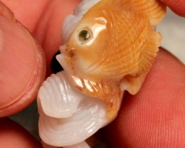 58 Carat Agate Hand Carved Seascape Luck Charm 37mm