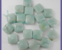 BEAUTIFUL 16X16MM DIAGONALLY STRUNG SQ. PERU AMAZONITE BEADS