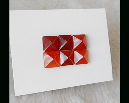 Red agate Pyramid Cabochon Set,30 Ct