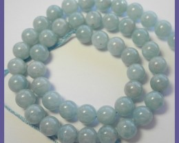 AA+ FABULOUS 10-10.50MM MILKY AQUAMARINE SMOOTH ROUND BEAD STRAND!!