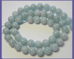 AA+FABULOUS 8-8.50MM MILKY AQUAMARINE SMOOTH ROUND BEAD STRAND!!