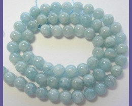 AA WONDERFUL 6.50MM AQUAMARINE SMOOTH ROUND BEAD STRAND!!
