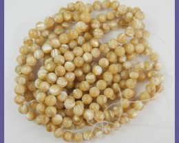 HIGH LUSTRE 8.00 BEIGE MOTHER OF PEARL BEADS-BEAUTIFUL