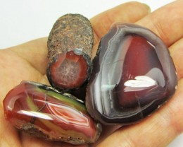 250 CTS  THREE POLISHED AUSSIE  AGATE SPECIMENS    GG1259