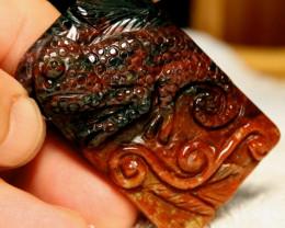 171 Ct., 55mm Jasper Chameleon Pendant Stone Luck Charm