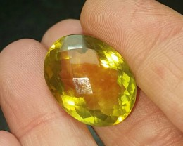 25ct 21mm Lemon Citrine also called Gold Green Citrine