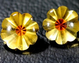 CIRTINE FLOWER CARVING  3.35  CTS 8x8 pair LG-5
