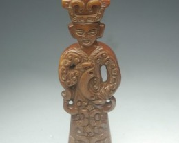 FROM A COLLECTION OLD JADE STATUE/PENDANT 75mm