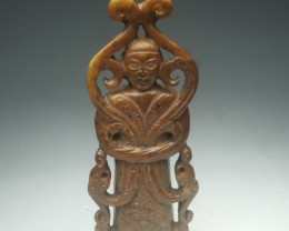 FROM A COLLECTION OLD JADE CARVING STATUE/PENDANT 76mm